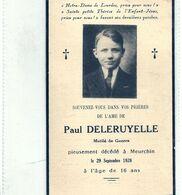 09 - 2020 - GOH - PAS DE CALAIS - 62 - MEURCHIN Près De BETHUNE - Carte Mortuaire -Paul Deleruyelle - Mutilé De Guerre - Geboorte & Doop