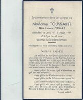 09 - 2020 - GOH - PAS DE CALAIS - 62 - LENS - Mme Toussaint Née Plumat - 1944 - Victime Bombardement - Geboorte & Doop
