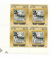 EL SALVADOR 2003 AGAPE 25TH ANNIVERSARY BLOCK OF FOUR MNH MICHEL 2308 - El Salvador