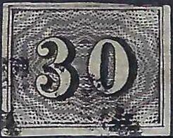 "BRAZIL #  013  -  BRAZIL EMPIRE  -  "" VERTICAIS ""  30 RÉIS  BLACK - 1850 - USED - Brasilien"
