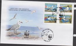 WWF -   TURKISH CYPRUS -  2010 - WWF - SEABIRDS SET OF 4  ON ILLUSTRATED FDC - FDC