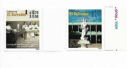 EL SALVADOR 2003 MARIA AUXILIADORA, CATHOLIC EDUCATION, VIRGIN, 2 VALUES MNH - El Salvador