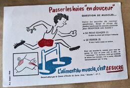 """BUVARD """" Passer Les Haies En Douceur """" / LE SUCRE ! - Sports"""
