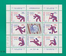 YUGOSLAVIA     1984Olimpiadi Medaglie Yugoslavia Foglietto Nuovo - Nuevos