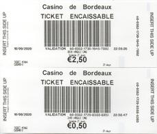 Ticket Encaissable X 2 : Casino De Bordeaux (Département 33) - Casinokarten