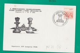 YUGOSLAVIA     1982Campionati Scacchi Serie Di 5 Cartoline Con Affrancatura Speciale La Serie - Cartas