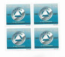 EL SALVADOR 2002 CENTRAL AMERICAN PARLIAMENT EMBLEM ANNIVERSARY BLOCK OF 4 MNH - El Salvador