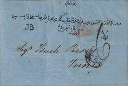 TURQUIE - SMYRNE - PAQUEBOT DE LA MEDITERRANEE - TAXE 6 - LETTRE AVEC TEXTE EN TURC POUR TUNIS - VERSO BONE ALGERIE ET T - Maritime Post