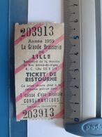 Ticket De Ristourne La Grande Brasserie De Lille 1959 - Facturen