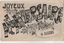 S10-40) BASCONS (LANDES)  JOYEUX ANNIVERSAIRE - ( 2 SCANS ) - Sonstige Gemeinden