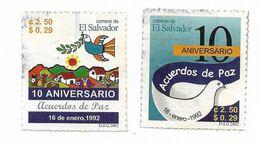 EL SALVADOR 2002 PEACE ACCORD ANNIVERSARY PIGEON BIRD FLAG 2 VALUE USED - El Salvador