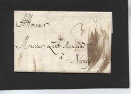 Lettre De  Baar à Nancy - 1695 - ....-1700: Precursori
