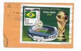 EL SALVADOR 2002 SOCCER WORLD CUP SOUVENIR SHEET USED ON PAPER FOOTBALL - El Salvador