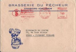 France Enveloppe Oblitérée, Thème Bière, Beer, Bier. EMA Empreinte Machine. Brasserie De Pêcheur. Chope - Beers