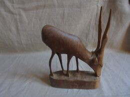 Vintage - Statuette En Bois D'olivier - Antilope Saïga - Tiere
