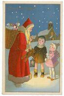 Joyeux Noël.le Père Noël Offrant Des Cadeaux à Deux Petits Enfants. - Non Classés