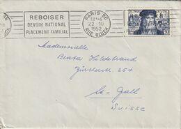 France Timbre N°929 Seul Sur Lettre Pour La Suisse 1952 - Marcophilie (Lettres)