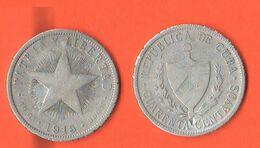Cuba 40 Centavos 1915 Silver Coin - Cuba