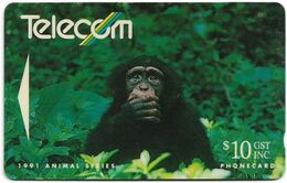 New Zealand - NZT (GPT) - Animal Series - Chimpanzee - 9NZLC - 1991, 10$, 50.000ex, Used - Nuova Zelanda