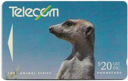 New Zealand - NZT (GPT) - Animal Series - Meerkat - 9NZLD - 1991, 20$, 30.000ex, Used - Nuova Zelanda