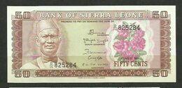 SIERRA LEONA - BILLETE DE 50 CENTS SIN CIRCULAR - Sierra Leone