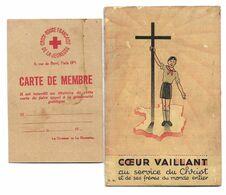 Carte D'adhérent, 3 Volets à COEUR VAILLANT + Carte De Membre Croix Rouge Francaise De La Jeunesse, Trouvée Avec - SCOUT - Movimiento Scout