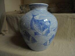 """Vintage - Vase/pot Bleu Décoration """"Poissons Marins"""" Années 80 - Autres"""