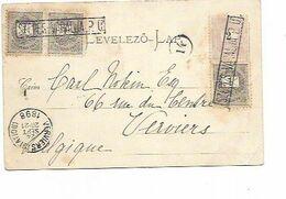 SH 0635. N° Yv. 23(3)-24 GRIFFE Enc.SZEPES VARALJA. P.U. S/CP Vers Verviers. Arr. VERVIERS (STATION) 24 SEPT 1898. - Brieven En Documenten
