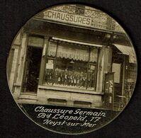 Petit Miroir Publicitaire Ancien - Chaussures Germain - Bd Leopold 17 - Heyst S/Mer - Heist - 2 Scans - Publicité