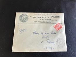 Enveloppe - 1953 - CAVES FROMAGERES Etablissements «PARIS» à LESTANG Par SAINT SATURNIN DE LENNE - Postmark Collection (Covers)