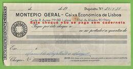 Lisboa - Cheque Do Banco Montepio Geral - Portugal - Cheques & Traverler's Cheques