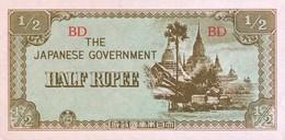Burma 1/2 Rupee, P-13b (1942) - UNC - Myanmar