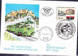 Österreich Austria Autriche - Postbeförderung Mit Jubiläumszug Salzburg-Lamprechtshausen (MiNr: 1854) 1986 - FDC - FDC