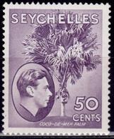 Seychelles 1938-41, King George VI Definitive, 50c, Sc#141, MLH - Seychellen (...-1976)