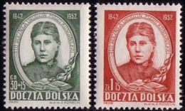 1952 Poland, Mi 739 - 740, M. Konopnicka, Writer  110th Birthday Teacher MNH** - Ongebruikt