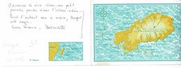 Carte Double, Contour Géographique Ile Rodrigues & Plan Situation Dans L'océan Indien, Photo Collée,  Etoile Des Vents - Mauritius