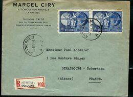 Doc. De ANTWERPEN - A 1 J - Du 20/10/49 Avec Paire Du N° 812  En Rec. ( E )  Pour La France - Correo Rural