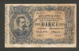 """Italia - Banconota Da 10 Lire """"Vittorio Emanuele III"""" 1914 P-20e - FALSO D'EPOCA CIRCOLATO - Regno D'Italia – 10 Lire"""