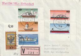 """Berlin / 1977 / Mi. 544-547 """"Schiffe"""" (1x Mit Formnummer) U.a. Auf Wertbrief Ex Ulm (A678) - Covers"""