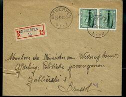 Doc. De ANTWERPEN - A 13 A - Du 24/06/47 Avec Paire N° 726 (Ostende-Dover)  En Rec. ( E) - Correo Rural