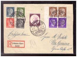 Sudetenland (020245) Einschreiben Mit Reichs ZD S270, S 274 2X, S278 Gelaufen Falkenau Mit SST Am 7.1.1942 - Sudetenland