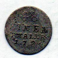 GERMAN STATES - ANHALT-BERNBURG, 1/48 Thaler, Silver, Year 1796, KM #57 - Kleine Munten & Andere Onderverdelingen