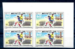 Soccer World Cup 1986 Imperf French New Caledonia Set Of 1in Block Of 4 Non Dentele Football MNH**VF - World Cup