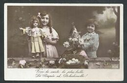 +++ CPA - Fantaisie - Enfant Fille Girl - Jouet - Toys - Poupée - Doll - Polichinelle  // - Games & Toys