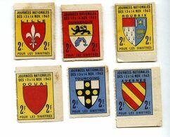 Vignettes 2F Pour Les Sinistrés 1943 Roubaix,Douai,Lille,Tourcoing,Dunkerque,Avesnes - Erinnophilie