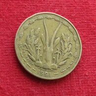 West African States 5 Francs 1991 KM# 2a Western African States Afrique Afrika Ocidental Oeste - Coins