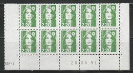 2714 2.20F.. Vert  BRIAT - Demi Bas De Feuilles De 10 - RGR 1 Du 20.08.91 - 1989-96 Maríanne Du Bicentenaire