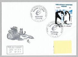 2- TAAF 348 Sur Pli 1er Jour KERGUELEN Du 17.02.2002 PASSAGE à L'EURO Cachet Illustré-signature Du Gérant Postal. - French Southern And Antarctic Territories (TAAF)