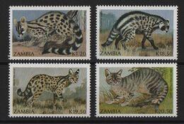 Zambie - N°522 à 525 - Faune - Petits Carnivores - Cote 9€ - * Neufs Avec Trace De Charniere - Zambia (1965-...)