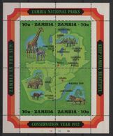 Zambie - BF N°2 - Faune - Parc Nationaux - Cote 17€ - ** Neufs Sans Charniere - Zambie (1965-...)